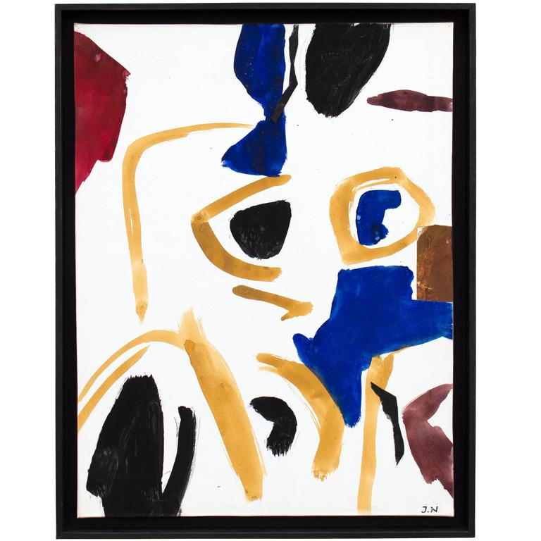 Abstract Gouache on Canvas by Jacques Nestle, circa 1950s For Sale