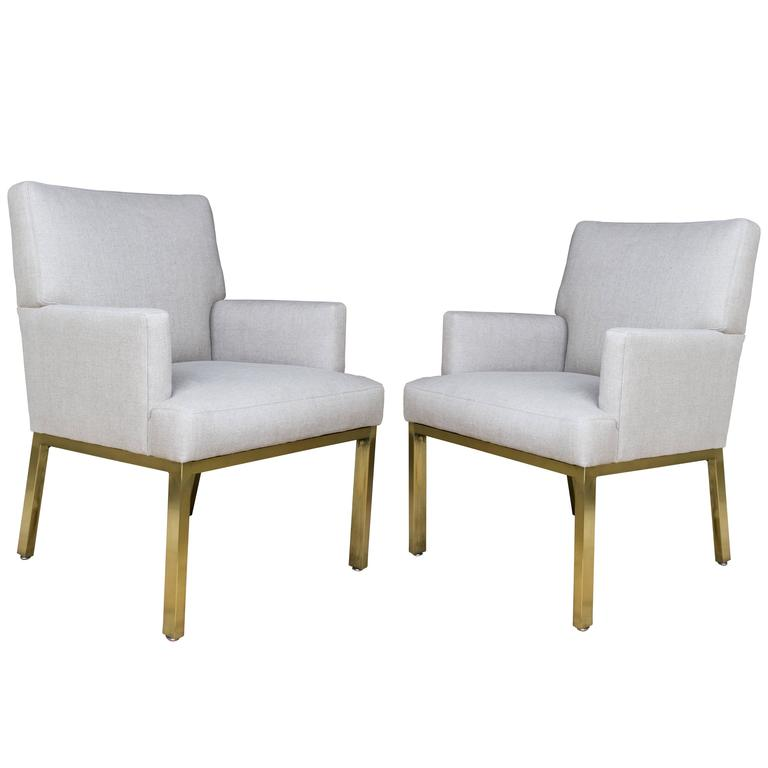 Mid Century Modern Armchairs With Brushed Brass Legs Pair For Sale