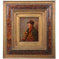 """German Antique Oil Painting, """"The Wandering Musician"""" by Wladimir Magidey"""