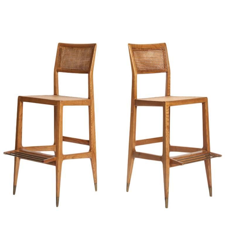 "Italian Mid-Century Modern ""Croupier"" Bar Stools by Gio Ponti"