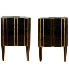 Pair of Italian, 1970s Black Bedside Chests