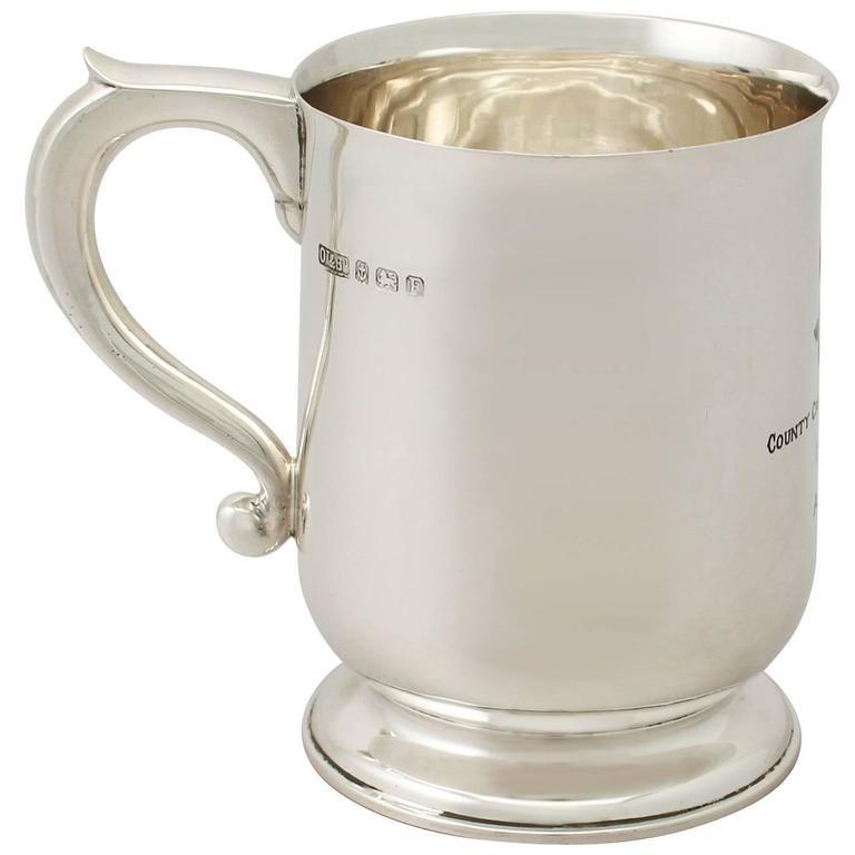 Sterling Silver and Enamel Pint Mug with Cricket Interest - Antique George V