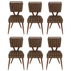 Set of Six X-Back Italian Dining Chairs by Gianni Vigorelli