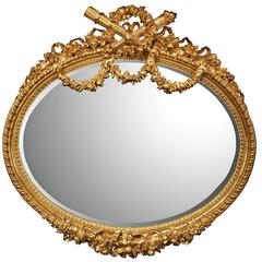 Palatial French Mid-19th Century Louis XVI Style Finely Carved Giltwood Mirror