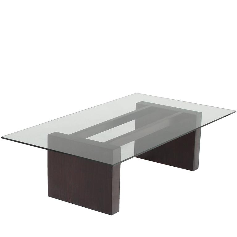 Rosewood Coffee Table with Glass Top