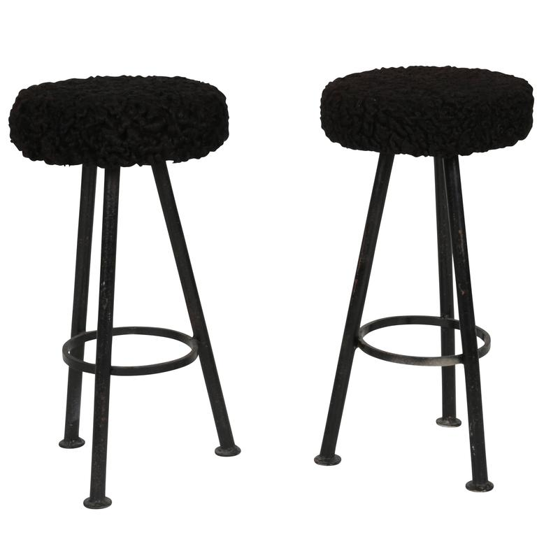 Persian Lamb And Iron French Diminutive Cocktail Stools At
