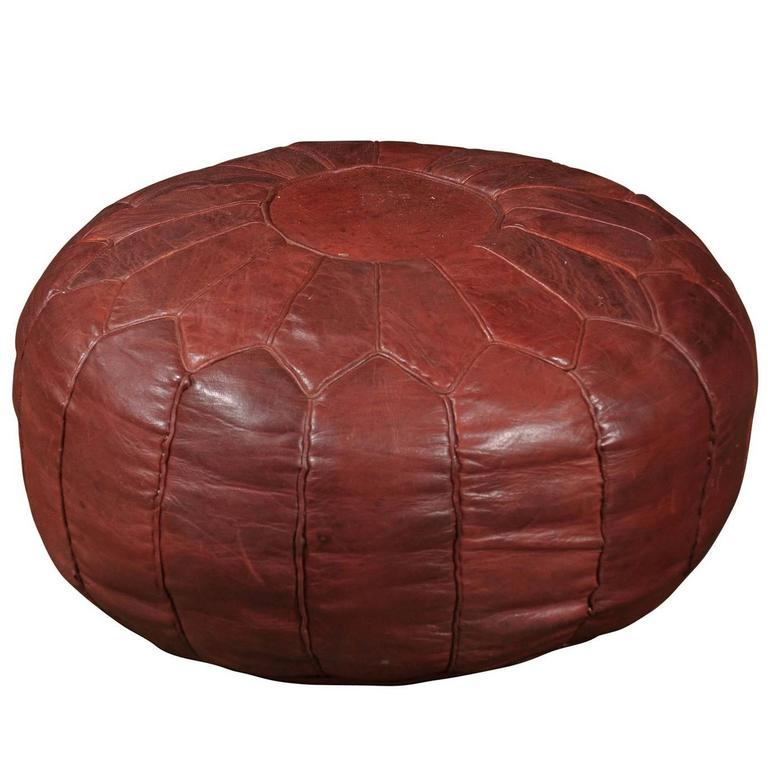 Large Vintage Moroccan Leather Pouf