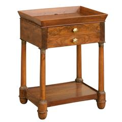 French Empire Walnut Tray Top Table with Drawers, Doric Columns and Bottom Shelf