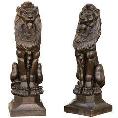 Pair of English Late 19th Century Large Wooden Carved Lions on Bases