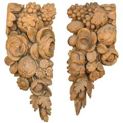 Pair of English Architectural Carvings in the Manner of Grinling Gibbons, 1880s