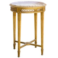 French Napoleon III Round Giltwood Marble Top Guéridon Table, circa 1870