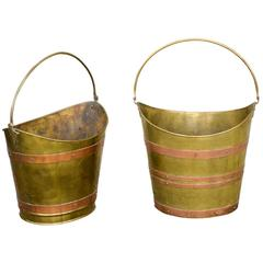 English Wide Mouth Brass Buckets with Copper Straps from the Early 20th Century