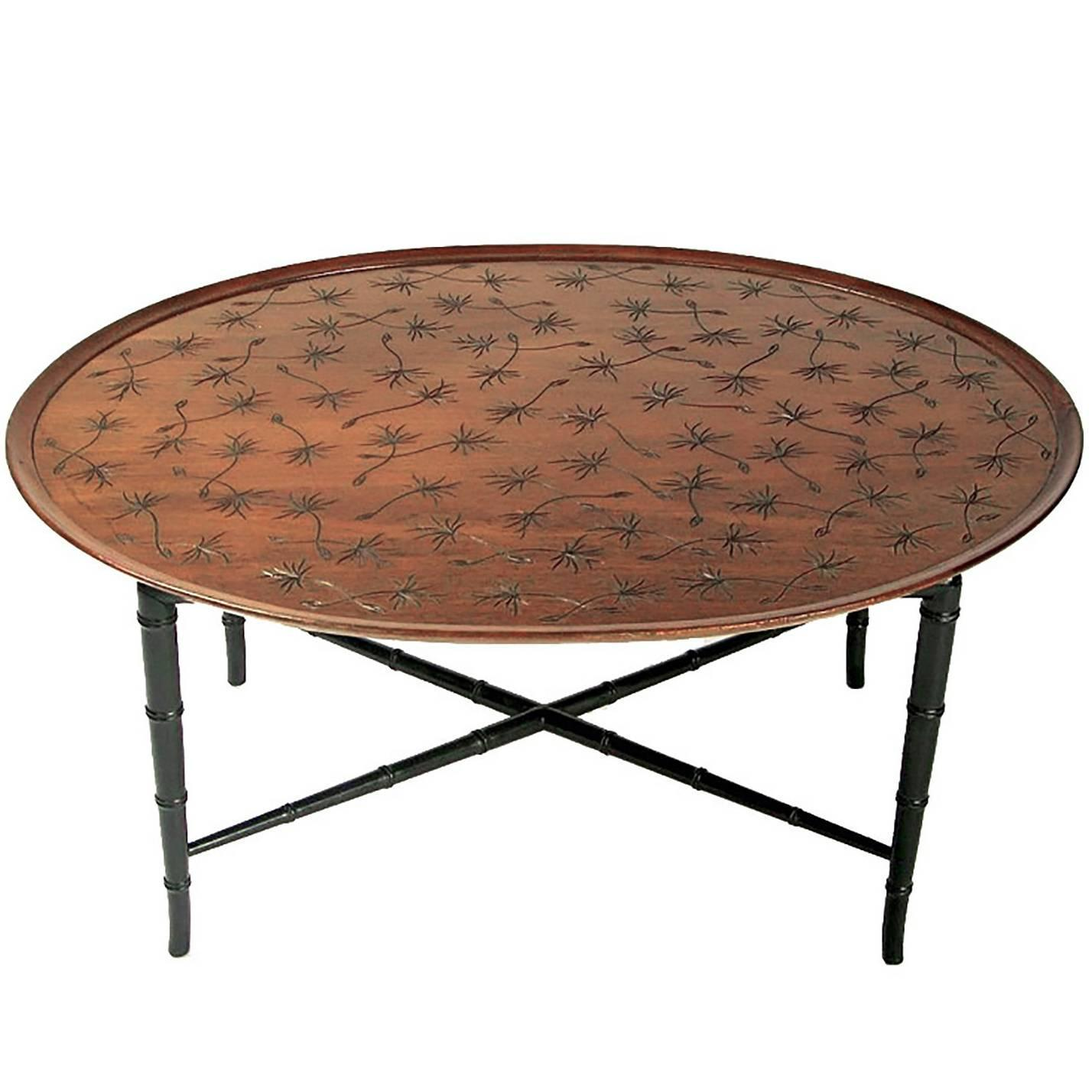 Kittinger Tray Coffee Table with Incised Thistledown Design For