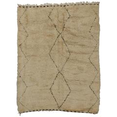 Mid-Century Modern Berber Moroccan Rug with Minimalist Style