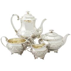 Sterling Silver Four-Piece Tea and Coffee Service, Regency Style, Antique