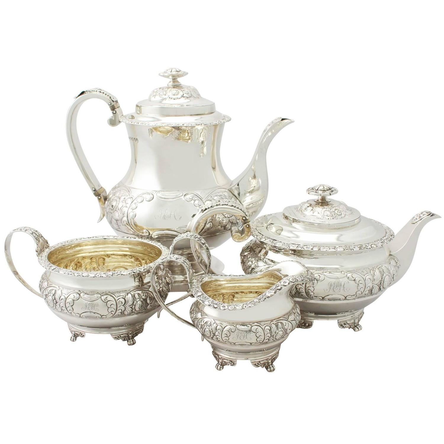 Antique Regency Style Sterling Silver Four Piece Tea And Coffee Service For At 1stdibs