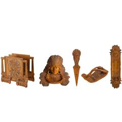 Five-Piece Bronze Painted Set for Writing Desk