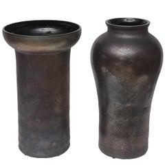 Oversized Cenedese Scavo Glass Vases