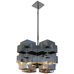 C. Jere Chome Steel Cubist Chandelier Signed 1970s USA