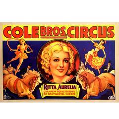 American Circus Poster for Cole Bros & Ritta Aurelia, 1939