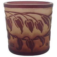 Austrian Jugendstil Etched Cameo Art Glass Vase by Otto Tauschek for Moser