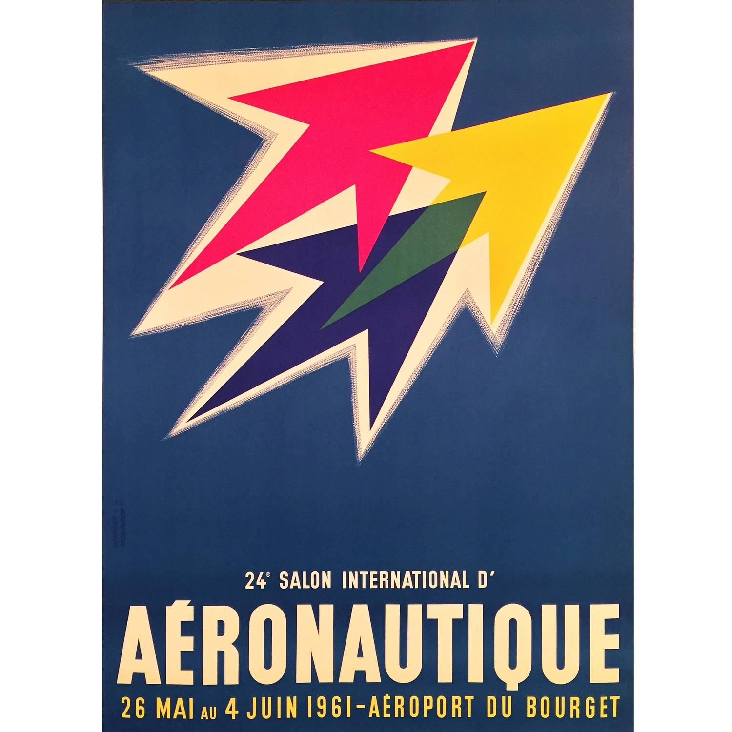 Mid-Century Modern Period French Air Show Advertising Poster, 1961 at  1stdibs