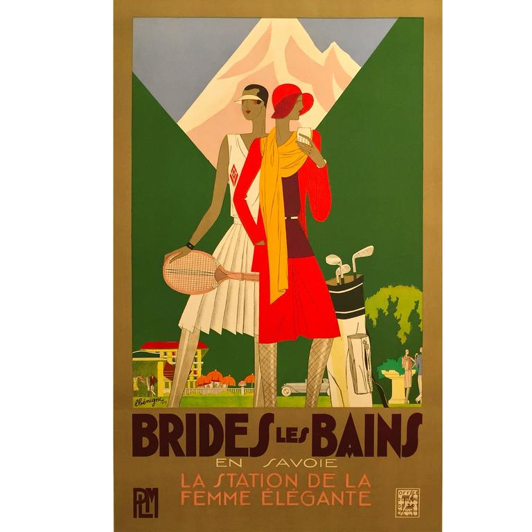 French Art Deco Period Travel Poster Brides Les Bains, by Leon Benigni, 1929