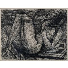 Pen and Ink Drawing of Reclining Nude by Marcel Gromaire, 1953