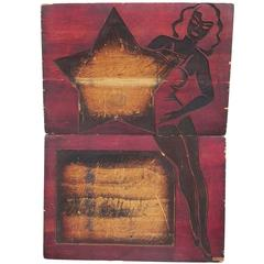 Burlesque Poster Carved Wood Printing Block