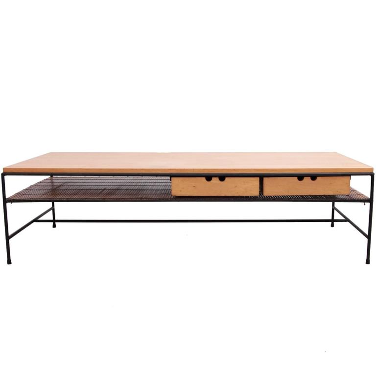 Wrought Iron Coffee Table With Drawers: Paul Mccobb Planner Group Wrought Iron Coffee Table For
