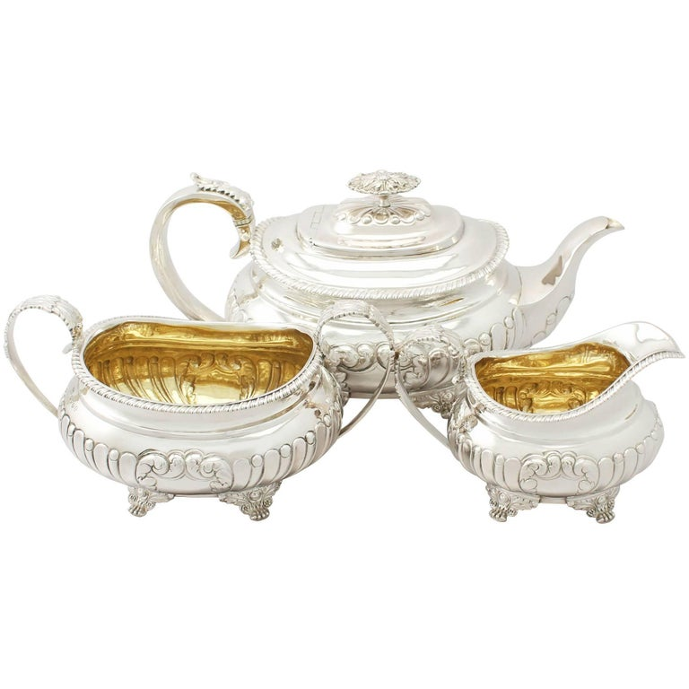 1825 Antique Regency Style Sterling Silver Three Piece Tea Service For Sale