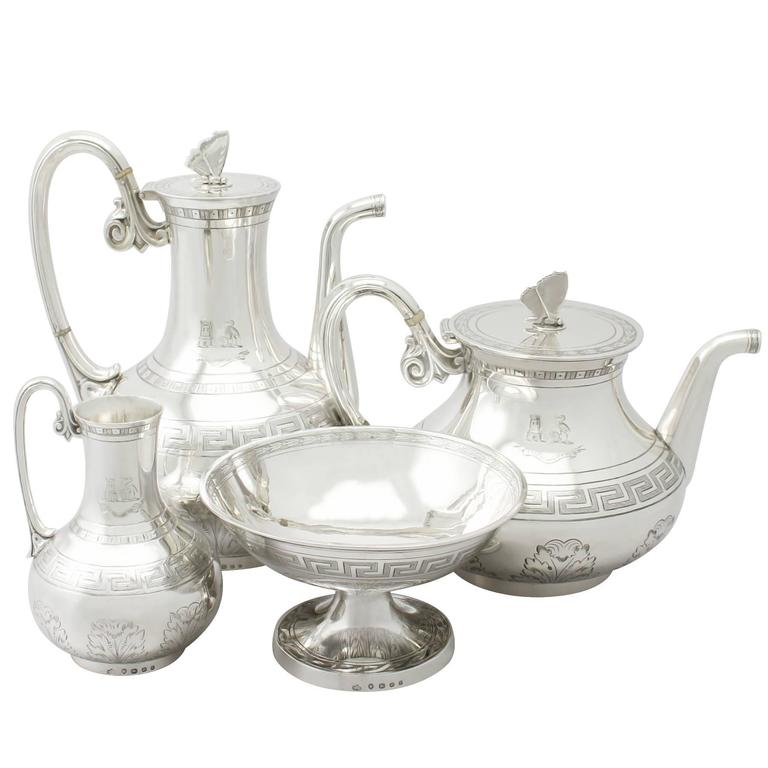 1860s Sterling Silver Composite Four-Piece Tea and Coffee Service