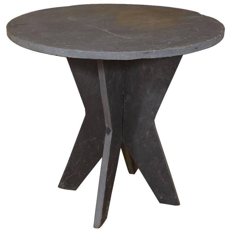 Small Round Slate Table D 39 Ardoise At 1stdibs