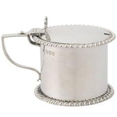 Sterling Silver Drum Mustard Pot, Antique Victorian