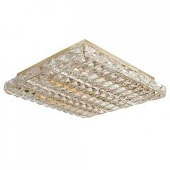 Facet-Cut Crystal Tile Flush Mount Fixture