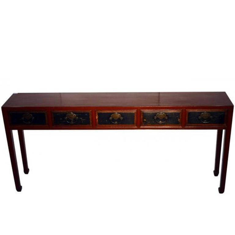 Red Lacquer Console Table with Black Lacquer Drawers from 19th Century, China