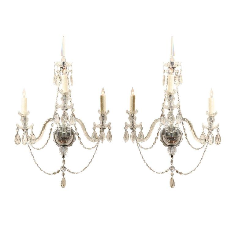 Pair of Cut Crystal Arm Sconces with Three Lights 1