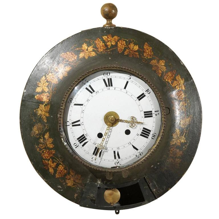 Large 19th Century French Painted Tole Wall Clock with Grapevine Detail For Sale