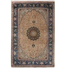 Vintage Pair of Small, Pure Silk Persian Tabriz Rugs