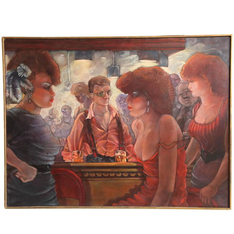 Bartender and the Ladies Oil on Canvas by Keith Keller For Sale
