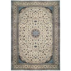 Large Fine Persian Vintage Nain Rug, Wool and Silk