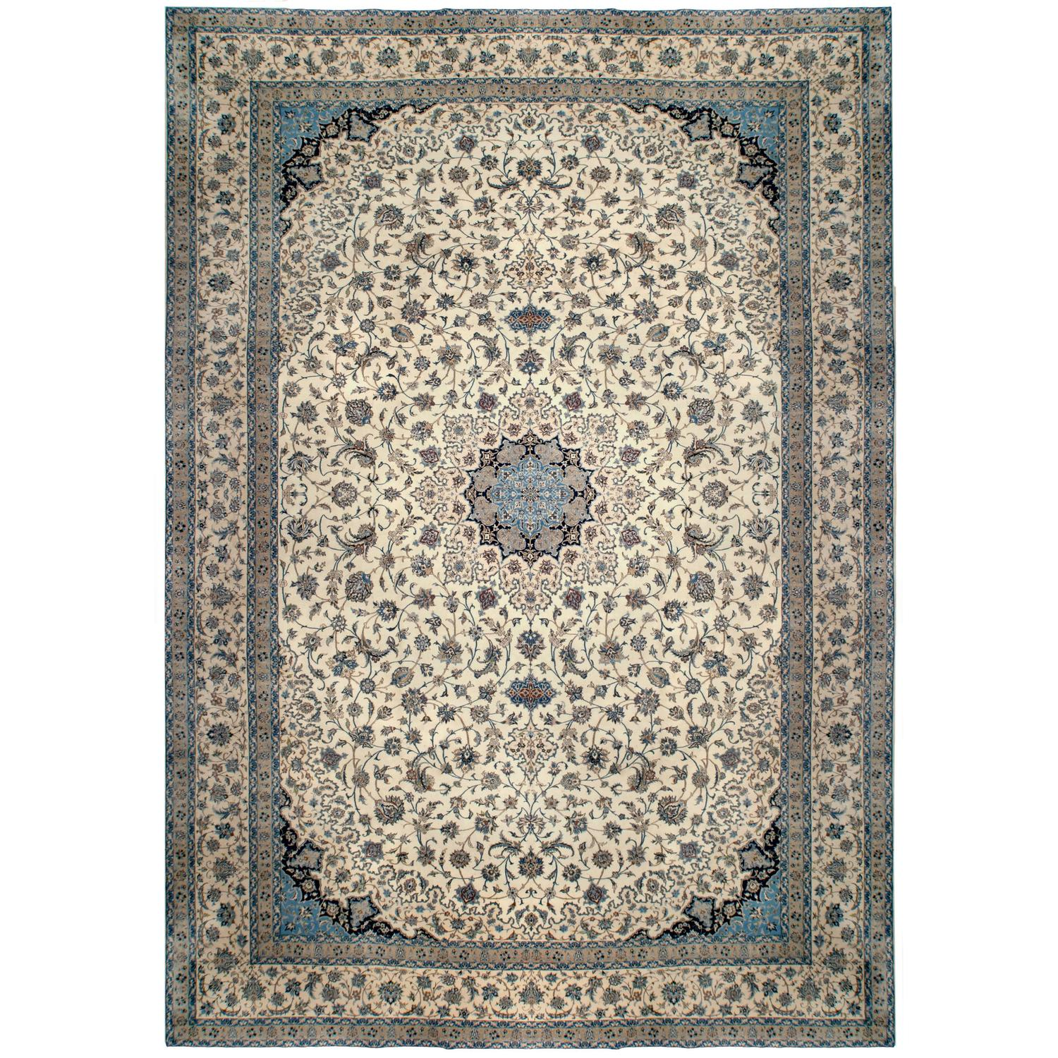 Ivory Wool And Silk Persian Naein Area Rug For Sale At 1stdibs: Large Fine Persian Vintage Nain Rug, Wool And Silk For
