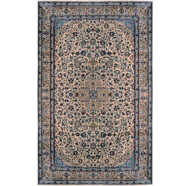 Ivory Wool And Silk Persian Naein Area Rug For Sale At 1stdibs: Wool And Silk Persian Nain Rug For Sale At 1stdibs