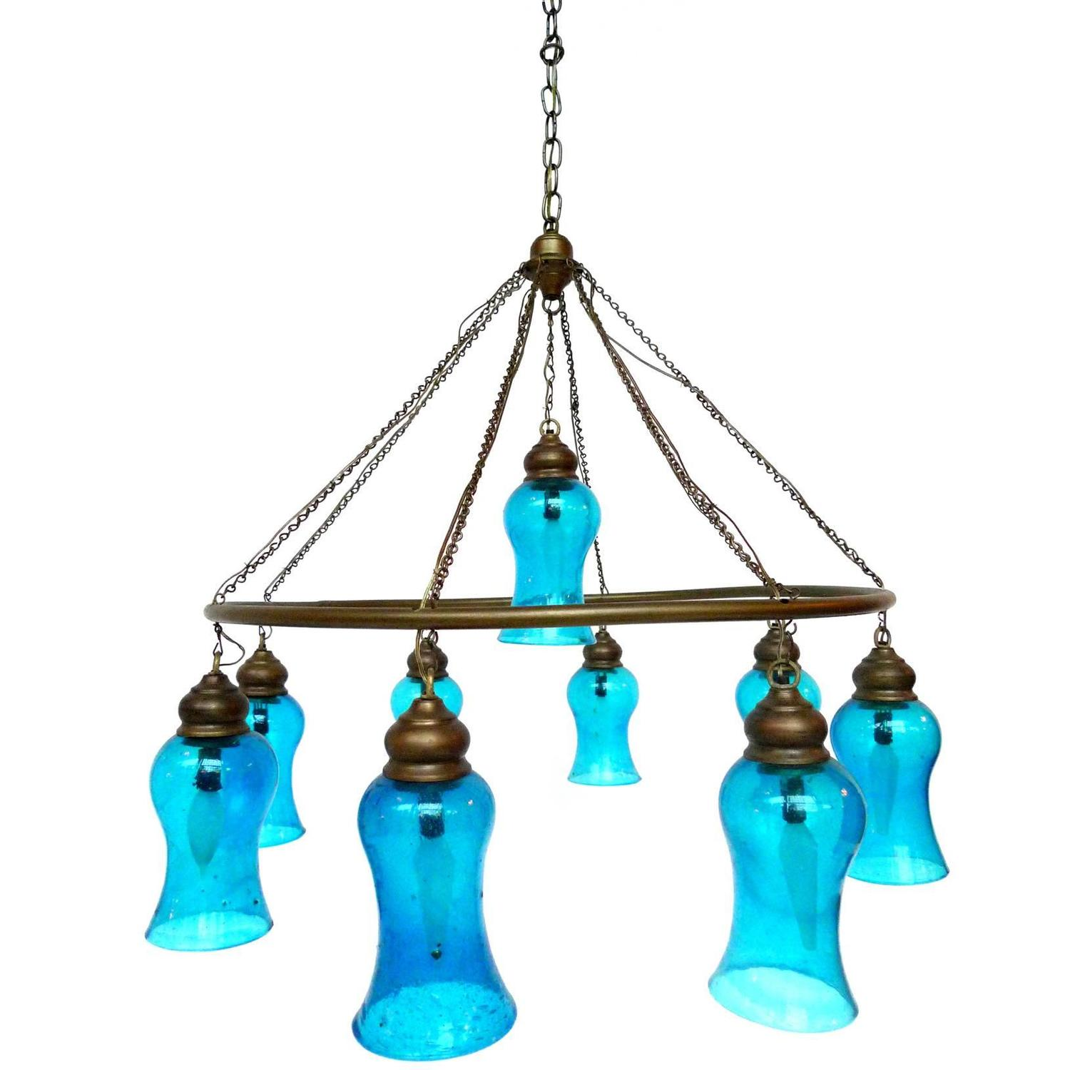 Handblown blue glass chandelier at 1stdibs Blown glass chandelier