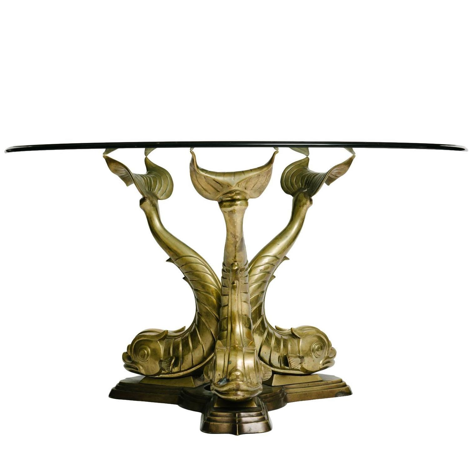 Italian Brass Dolphin Dining Table Base For Sale at 1stdibs