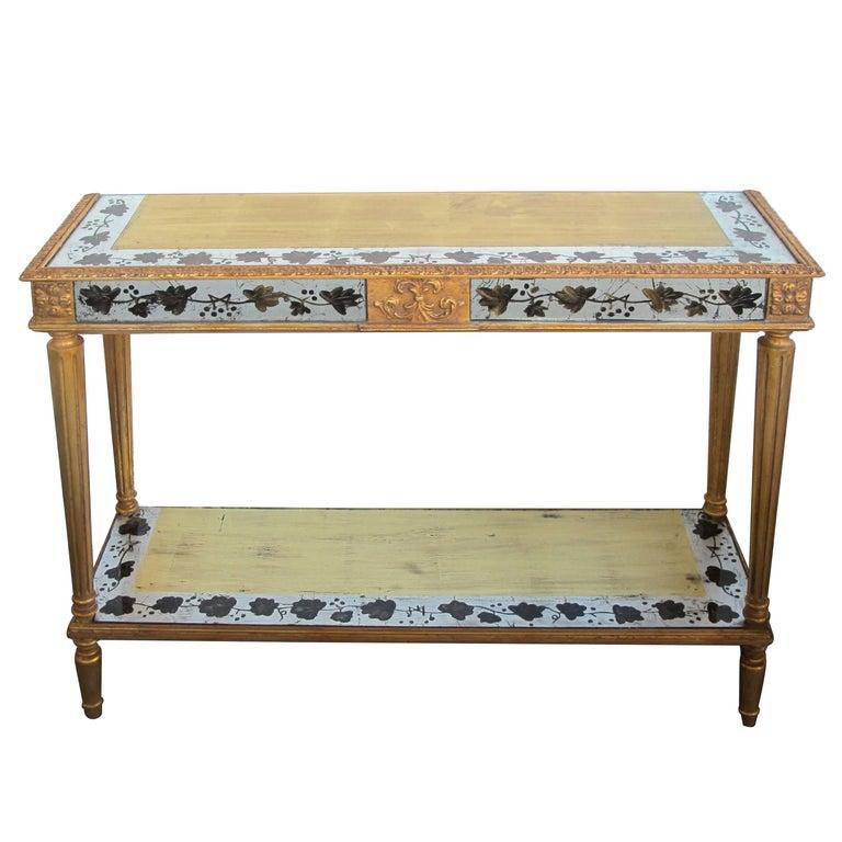 French Maison Jansen Neoclassical Style Églomisé Console Table