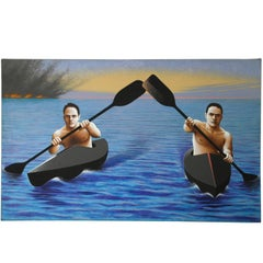 Kayakers Escaping from a Disaster, Painting by Lynn Curlee