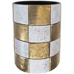 Modish American, 1970s Cylindrical Checkerboard Pattern Ceramic Vase; Jaru