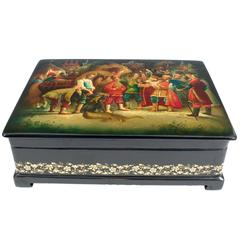 Russian Fedoskino Painted Black Lacquer Box, Signed and Dated 1989
