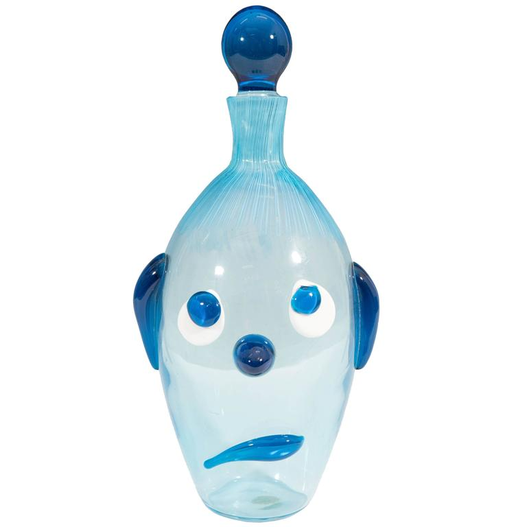Italian Mid-Century Fratelli Toso Sad Dog Decanter in Blue Murano Glass